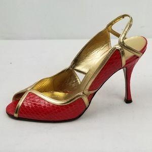 Dolce Gabbana Red Stiletto Heels Sandals size 37